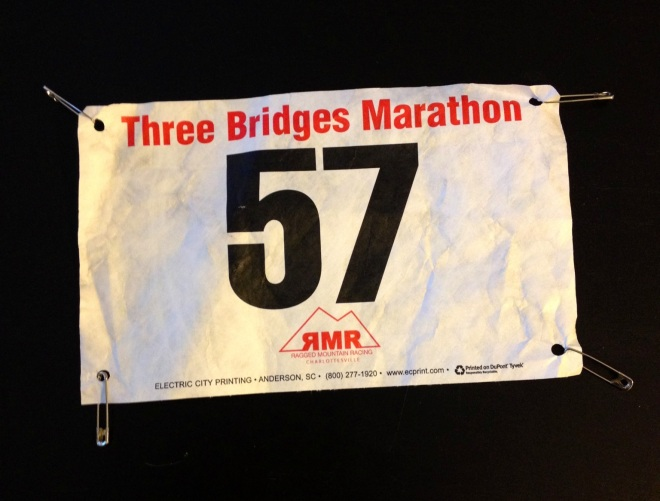 You're looking at the race packet here. Number, check. Pins, check. Good to go.