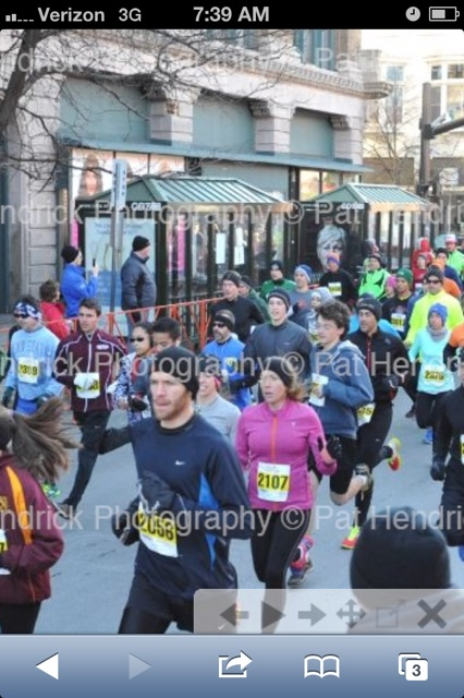 Screenshot of Steph and me at the start of the 2013 Troy Turkey Trot