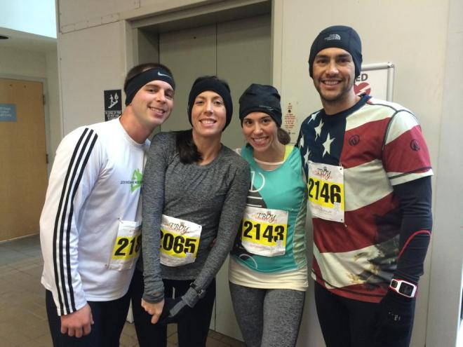 """We need a pre-race picture!"" I was in the middle of putting on my gloves here... we're all like, gah!"