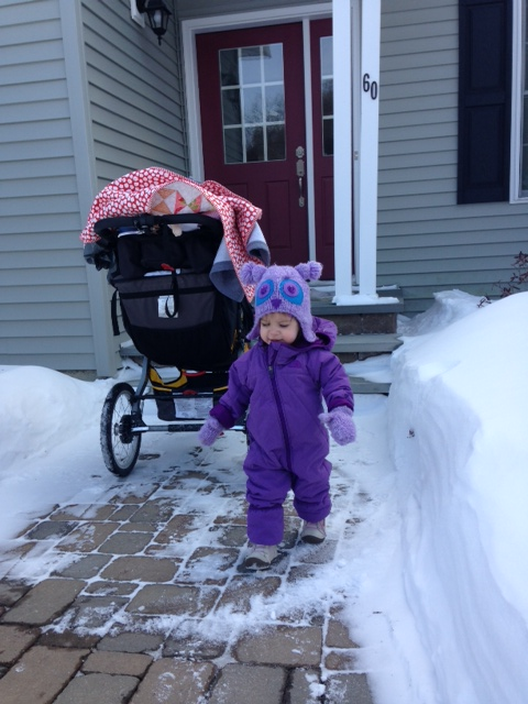 "Emmaline all bundled up after our run. She wanted to play outside. Her favorite word lately is ""snow""..."