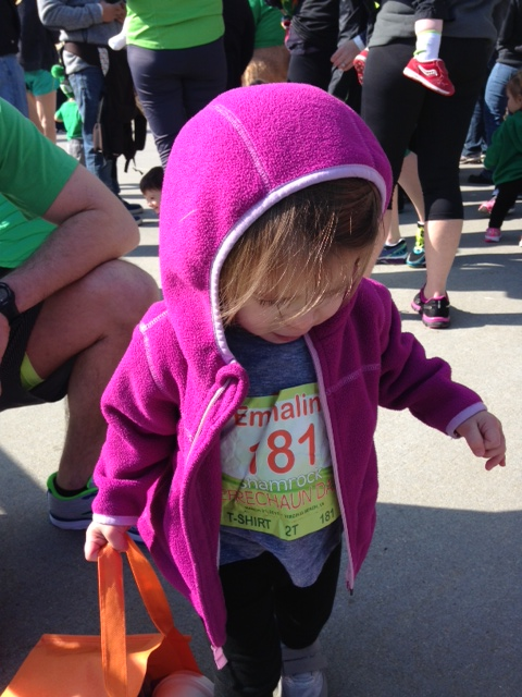 Emmaline was very excited about her race number (and they printed the kids' names on them too)!
