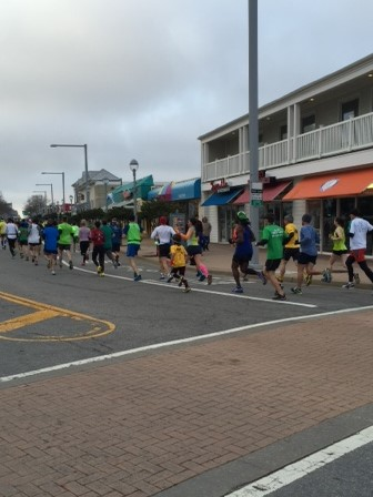 Somewhere in the first mile- I'm in the orange (pop) arm warmers. Photo courtesy of Jen B.