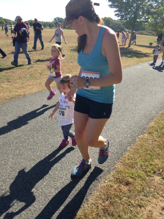 Running with Emmaline in the beginning of the kids race.